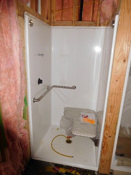 Bathroom construction at Station 55