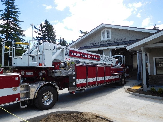 Truck in front of Station 55