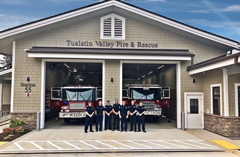 Crew standing in front of Station 55