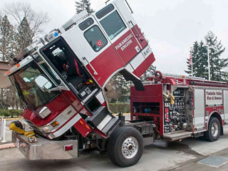 Cab Engine Lifted on a Fire Truck