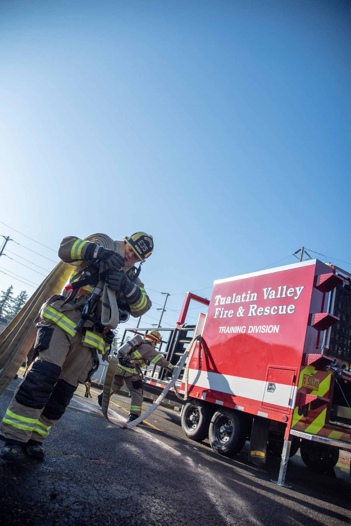 Crews complete hose drill with new training trailer
