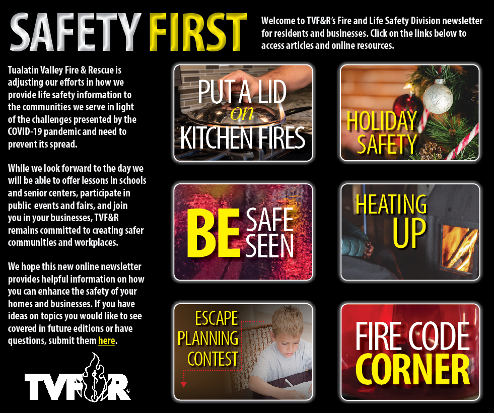 Preview of Safety First Newsletter Home Page