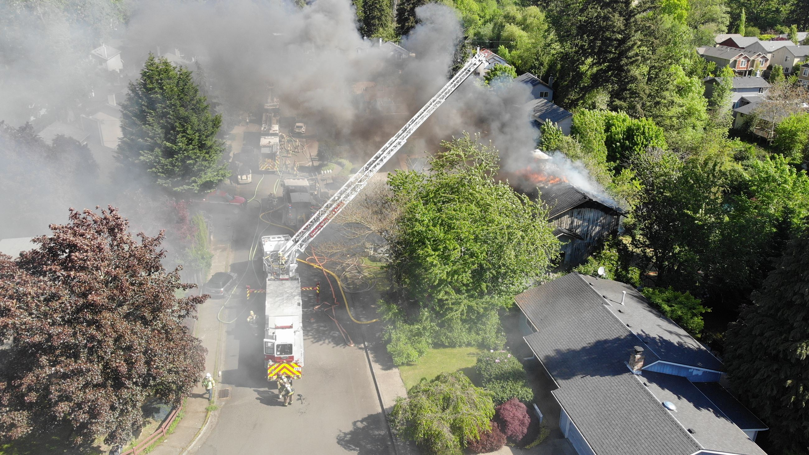 UAS view of the 175th Ave. Residential Fire in Aloha