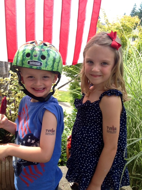 Kids show off their TVF&R Tattoo